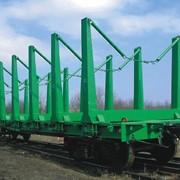 Платформы железнодорожные для перевозки контейнеров, лесоматериалов стали фото