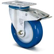 Колеса большегрузные полиуретановые в поворотном кронштейне с тормозом на тележки фото