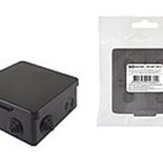 Распаячная коробка ОП 80х80х50мм, крышка, IP54, 7вх., черная, инд. штрихкод TDM фото