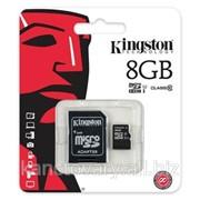 Карта памяти Kingston microSDHC 8GB Class 10 + SD адаптер фото