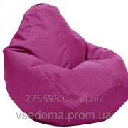 Бежевое кресло-мешок груша 100*75 см из микро-рогожки, кофе с молоком S-100*75 см, малиновый фото