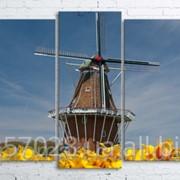 Модульна картина на полотні Млин код КМ100200(176)-100 фото