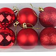 """Набор 6 пластиковых шаров """"Красное ассорти"""", 60-5-2 фото"""