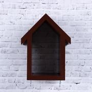 Ключница-полка Домик малая, 2 крючка, коричневая фото