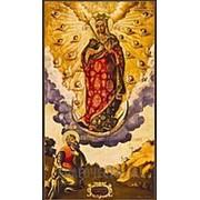 Мастерская копий икон Явление Богородицы апостолу Андрею на горах Киевских, копия старинной иконы на иконной доске (ручная работа) Высота иконы 12 см фото