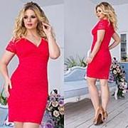 Платье женское гипюровое с глубоким декольте (4 цвета)- Красный ТК/-1165 фото