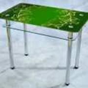 """Мебель кухонная Стол стеклянный обеденный """"ЛИЛИИ"""" зеленый фото"""