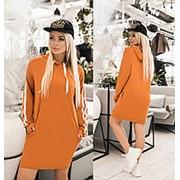 Спортивное платье женское с капюшоном (6 цветов) ТК/-2185 - Горчичный фото