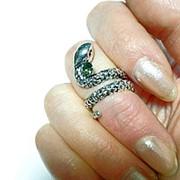 Кольцо на фалангу Змейка. Посеребрение. Размер 16 фото