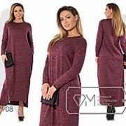Платье женское макси из трикотажа с напылением и передним вырезом подола на двух молниях-Марсала PY/-0144 фото