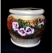 """Горшок для цветов из керамики ручной работы """"Украинский розы"""" фото"""