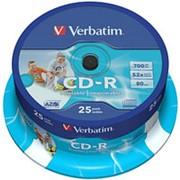 Компакт диск CD-R 700мБ Verbatim AZO с поверхностью для струйной печати в тубе 25шт. фото