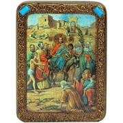 Подарочная икона Вход Господень В Иерусалим на мореном дубе фото