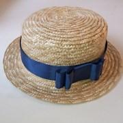 Шляпка канотье с бантиком 1 фото