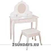 Белый туалетный столик из дерева для девочки Модница White Medium Vanity Stool фото