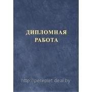 Твердый переплет диплома (тиснение Дипломная РАБОТА или Дипломный ПРОЕКТ, цвет синий, фактура Кожа) фото