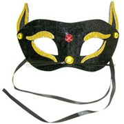 Маска Кошка черно-золотая фото