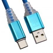 USB кабель «LP» Type-C «Змея» LED TPE (синий/блистер) фото
