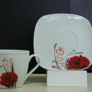 Чашка и блюдце Роза, 220 мл фото
