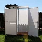 Летний душ для дачи с тамбуром и без Импласт, Агросфера. Бак: 55, 110, 150, 200 л. с подогревом и без. Доставка. Арт: 2132 фото