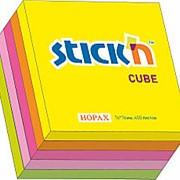 Блок-кубик клейкий STICK`N HOPAX , 76*76 мм, 5 неоновых цветов, 400 л фото