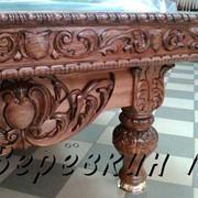 Бильярдные столы из натурального дерева с художественной резьбой фото