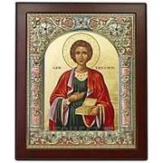 Angelos Пантелеимон Великомученик, греческая серебряная икона 14,5x17 см фото