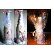 Декупаж бутылки шампанского для молодоженов фото