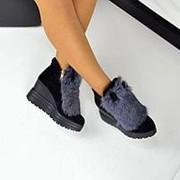 Женские зимние замшевые ботинки на платформе с мехом и ушками фото