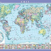 Світ. Політична карта, м-б 1:22 000 000 (на картоне ламинированная на планках) фото