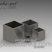 Кашпо из нержавеющей стали Quadro, поверхность шлифованная 30x30x30 см фото