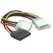 Переходник питания Molex штекер на 1 SATA F гнездо плюс 1 Molex F гнездо Cablexpert CC-SATA-PSY2 кабель 13 см фото