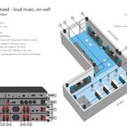 Звуковая система - Магазин средних размеров, громкая музыка,настенные громкоговорители Apart