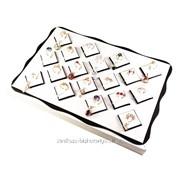 (34х24х6 см.)Планшет кожаный, белый для колец, сережек, подвесок 501008 фото