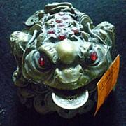 Сувенир Золотая жаба с монетой 4957 10х7 см. фото