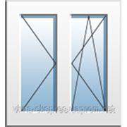 Окно двухчастное с поворотно-откидной и поворотной створками Rehau Euro 60 однокамерный стеклопакет фото