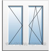 Окно двухчастное с поворотно-откидной и поворотной створками Rehau Euro 60. двухкамерный энергосберегающий фото