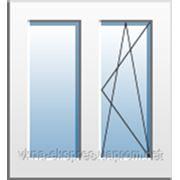 Окно двухчастное с поворотно-откидной створкой Rehau Euro 60, фурнитура Vorne, однокамерный энергосберегающий фото