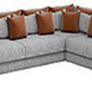 Угловой диван Мэдисон Long - Рогожка серая коричневая фото