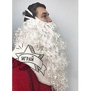 Борода Деда Мороза с париком ЛЮКС. Аксессуар к новогоднему костюму фото