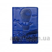 Обложка для паспорта Adventure синий Кожа фото