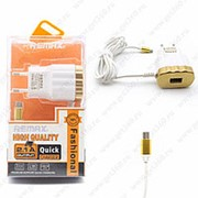 Сетевое Зарядное Устройство Remax Fashional Micro USB + USB Gold (Золотой) фото