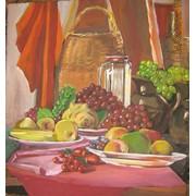 "Картина ""Натюрморт с фруктами и корзиной"".Картон,акрил.600*650мм фото"