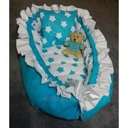 Гнездо-кокон для новорожденных Голубые звезды фото