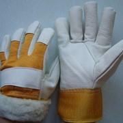 Перчатки зимние кожанные комбинированные Юкон, утепленные фото