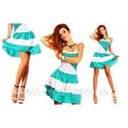 Платье открытые плечи юбка полоска Д фото