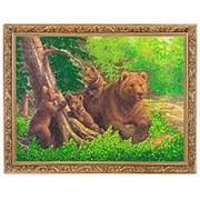 "Картина ""Медведица с медвежатами"" багет гипс 34х44 см К919 фото"