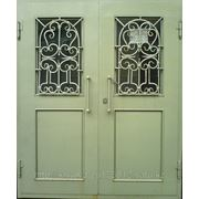 Металлические двери двух-створчатые фото