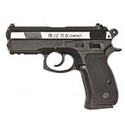 Пневматический пистолет ASG CZ-75 D Compact, подвижный никелированный металлический затвор фото