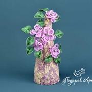 Дерево из керамики с бисерными цветами. Ручная работа. фото